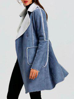 Faux Suede Long Lapel Coat - Blue Gray S