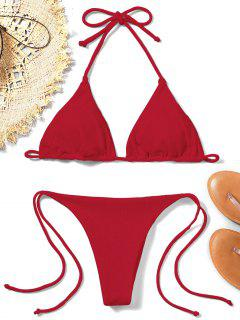 Ribbed String Bikini Set - Rot S