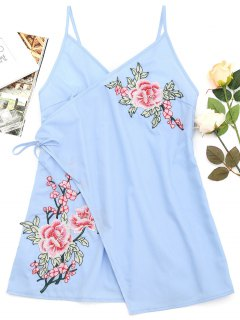 Tiered Bowknot Embroidered Patches Mini Dress - Light Blue S