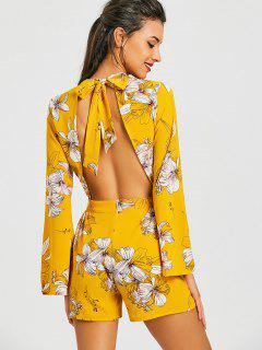 Floral Bowknot Open Back Romper - Yellow L