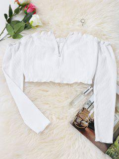 Slit Knitted Off Shoulder Cropped Top - White L