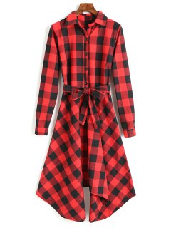 Long Sleeve Plaid Belted Shirt Dress - Red L