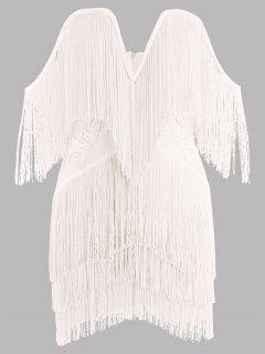 Vestido De Tirantes Sin Tirantes Con Flecos - Blanco L