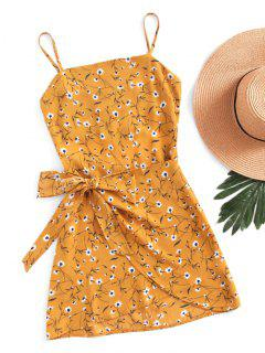 Mini Robe Découpée Superposée Avec Noeud Papillon - Moutarde  Xl