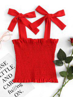 Tied Straps Smocked Tank Top - Rot L