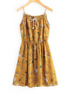 Faux Pearls Floral Mini Dress - Mustard M