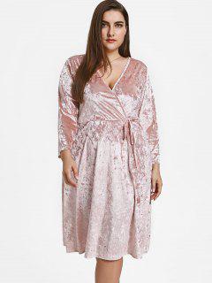 Vestido De Terciopelo Triturado - Rosa 5xl