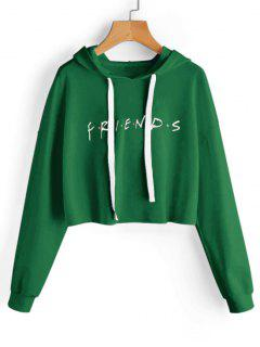 Drawstring Loose Letter Cropped Hoodie - Green M