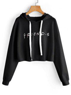 Drawstring Loose Letter Cropped Hoodie - Black L