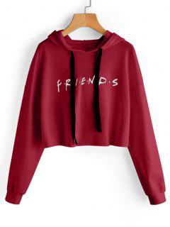 Drawstring Loose Letter Cropped Hoodie - Deep Red L