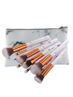 10Pcs High Quality Synthetic Fiber Hair Makeup Brush With Case - White