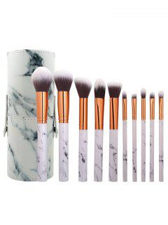 10Pcs Ultra Soft Makeup Brush Set With Brush Cylinder Case - White