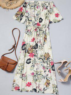 Robe Longue Florale Découpée à épaules Dénudées - Blanc Cassé L