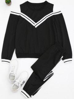 Cold Shoulder Sweatshirt And Sports Pants Set - Black L