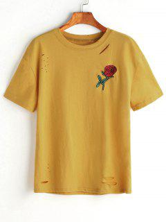 Ripped Rose Embroidered Top - Mustard L