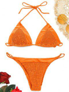 Neckholder Smocked String Bikini Set - Orange  S
