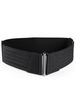 Striped Pattern Artificial Leather Wide Waist Belt - Black