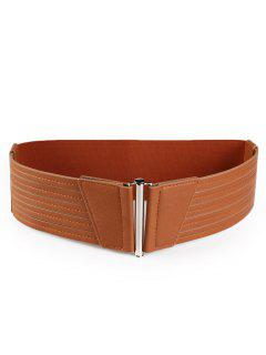 Striped Pattern Artificial Leather Wide Waist Belt - Chocolate