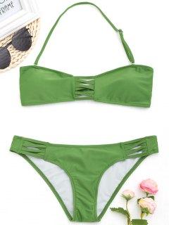 Criss-cross Halter Bikini Set - Green S