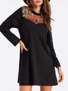 Embroidered Mini T-shirt Dress - Black Xl