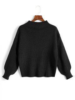 Plain Mock Neck Lantern Sleeve Sweater - Black