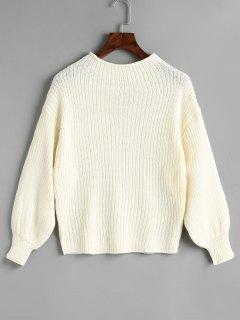 Plain Mock Neck Laterne Ärmel Pullover - Weiß
