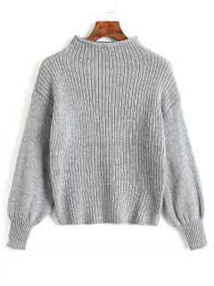 Plain Mock Neck Laterne Ärmel Pullover - Grau