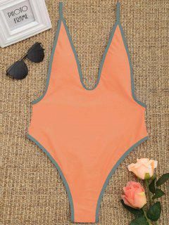 Maillot De Bain Coupe Haute à Contrastes - Orange Rose S
