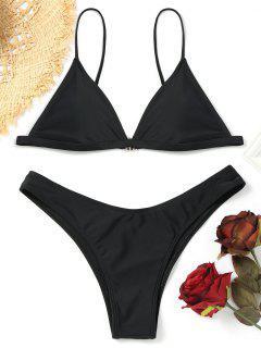 Haut De Bikini Rembourré Avec Bas De String - Noir S