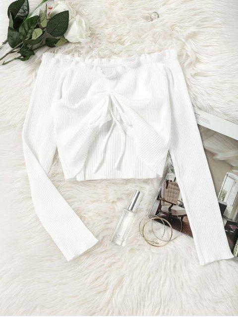 Gestricktes, drapiertes, schulterfrei geschnittenes Top - Weiß M Mobile