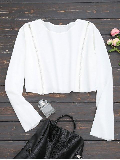 Geschnittenes Sweatshirt Mit Reißverschluss Vorder - Weiß XL  Mobile