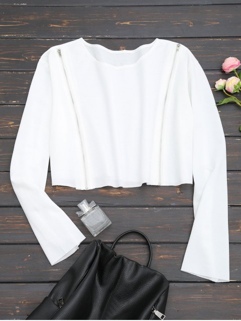 Sweat-shirt Court à Zip - Blanc XL Mobile