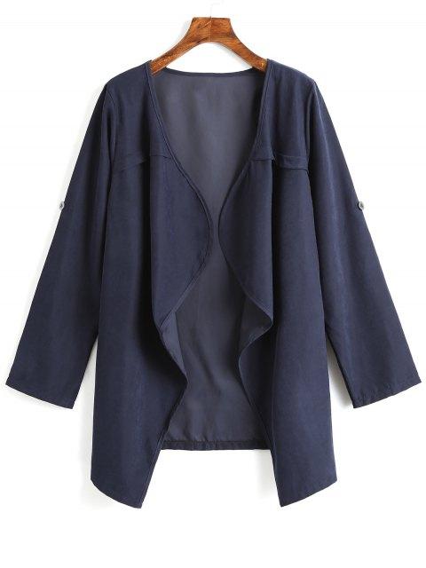 Abrigo abierto drapeado liso - Azul Claro XL Mobile