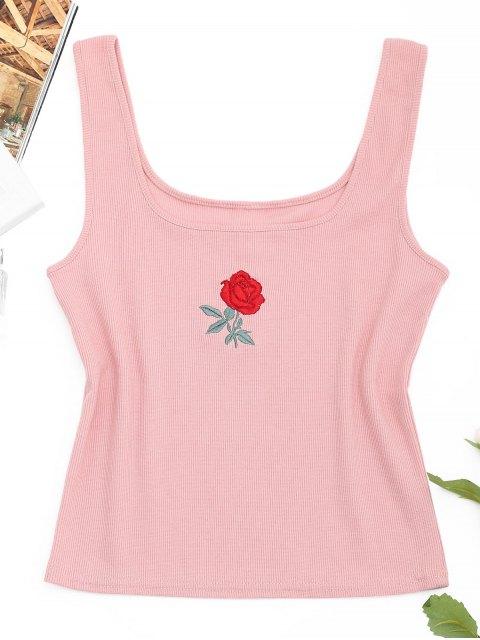 Débardeur Côtelé à Rose Brodée - Rose  S Mobile