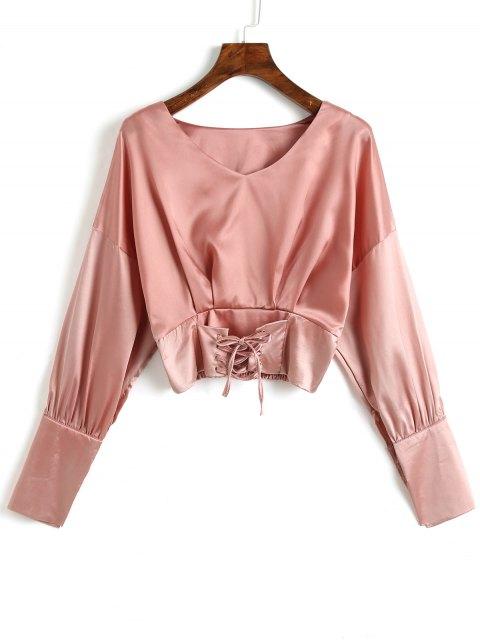 V-Ausschnitt Lace Up Satin Bluse - Dunkelrosa Eine Größe Mobile