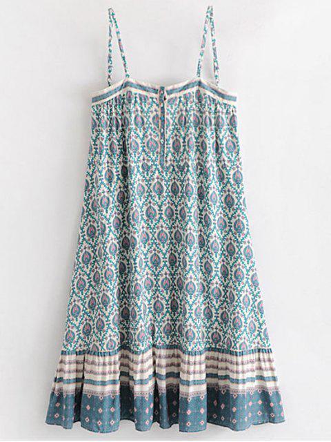 Vestido de cambio tribal mitad abotonada - Blanco L Mobile