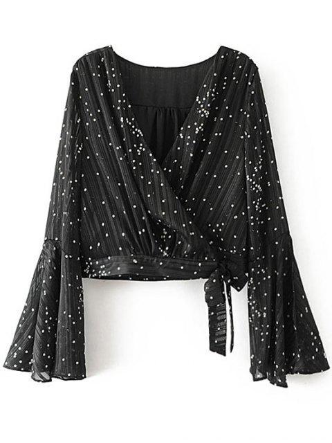 Blusa con lazo y lunares - Negro S Mobile