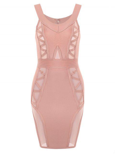 Vestido de vendaje de panel de malla de hombro - Rosa M Mobile