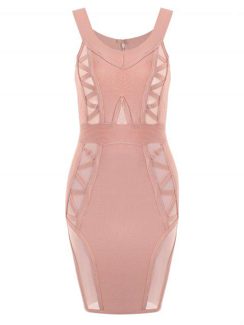 latest Off Shoulder Mesh Panel Bandage Dress - PINK L Mobile
