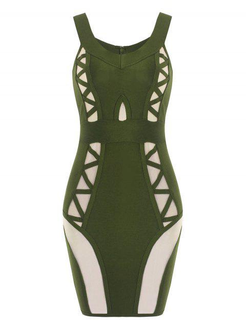 Vestido de vendaje de panel de malla de hombro - Verde del ejército L Mobile