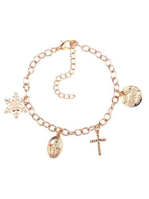 Bracelet Charmant Croix Jésus et Flocon de Neige - Or  Mobile