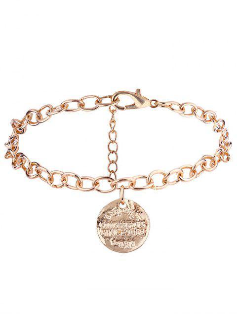 Gravierte Scheibe Charm Kette Armband - Golden  Mobile