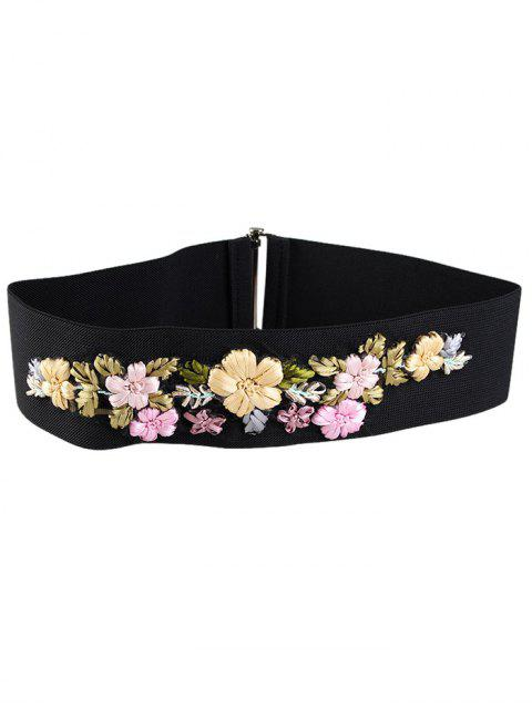 fashion Rhinestone Floral Decorated Elastic Wide Waist Belt -   Mobile