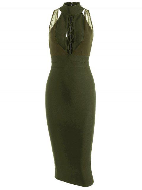 shops Mesh Panel Criss Cross Bandage Dress - ARMY GREEN M Mobile