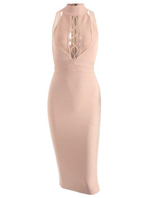 fashion Mesh Panel Criss Cross Bandage Dress - APRICOT M Mobile