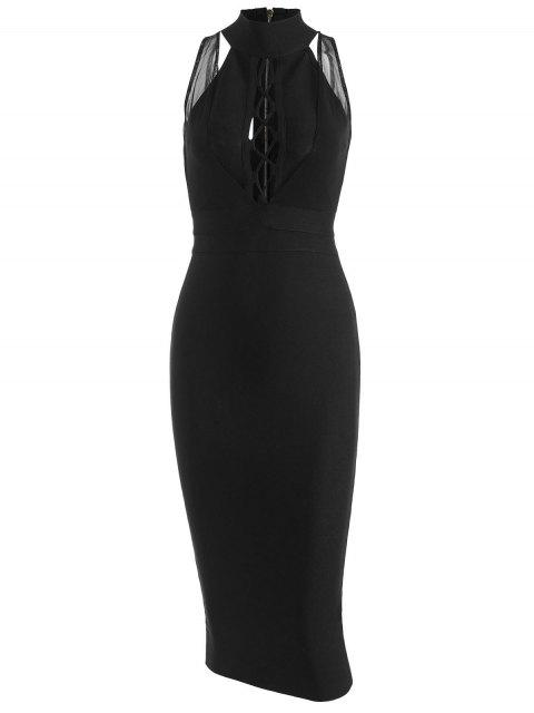 fancy Mesh Panel Criss Cross Bandage Dress - BLACK M Mobile