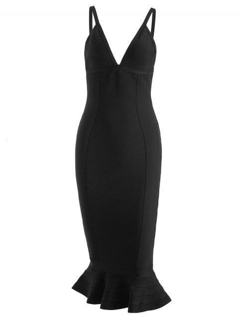 Cami Mermaid Verbandkleid - Schwarz S Mobile