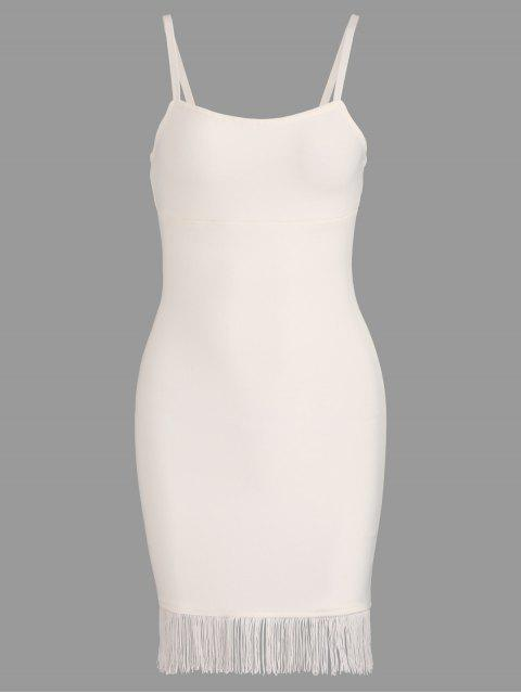 shop Fringed Cami Bandage Dress - WHITE M Mobile