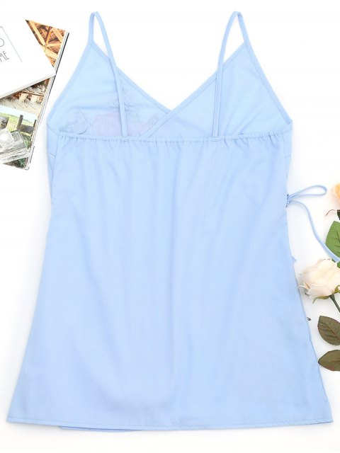 womens Tiered Bowknot Embroidered Patches Mini Dress - LIGHT BLUE L Mobile