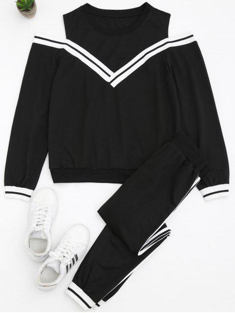lady Cold Shoulder Sweatshirt and Sports Pants Set - BLACK L Mobile